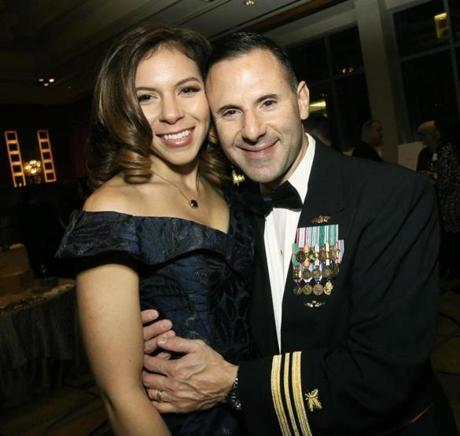 2-6-2015 Boston, Mass. 400 guests attended Veterans Legal Services Annual Gala held at the Mandarin Oriental Hotel. L. to R. are Kimberly Margioni and her husband Lt. Commander Onofrio Margioni of Newport, R.I. Globe photo by Bill Brett